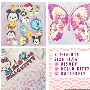 Lot of 3 Cute T-Shirts Size 14/16 Hello Kitty, etc